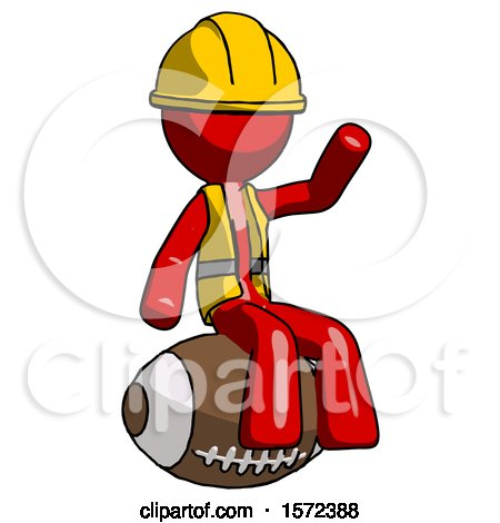 Red Construction Worker Contractor Man Sitting on Giant Football by Leo Blanchette