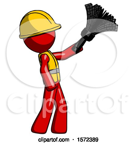 Red Construction Worker Contractor Man Dusting with Feather Duster Upwards by Leo Blanchette