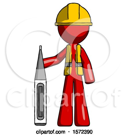 Red Construction Worker Contractor Man Standing with Large Thermometer by Leo Blanchette