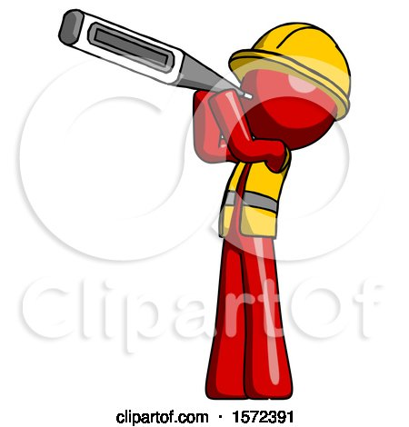Red Construction Worker Contractor Man Thermometer in Mouth by Leo Blanchette