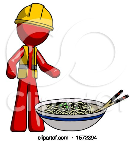 Red Construction Worker Contractor Man and Noodle Bowl, Giant Soup Restaraunt Concept by Leo Blanchette
