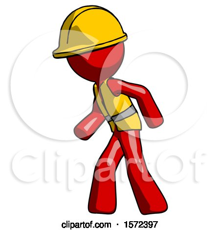 Red Construction Worker Contractor Man Suspense Action Pose Facing Left by Leo Blanchette