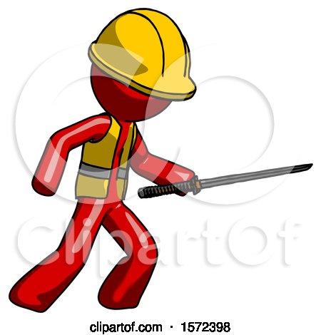 Red Construction Worker Contractor Man Stabbing with Ninja Sword Katana by Leo Blanchette