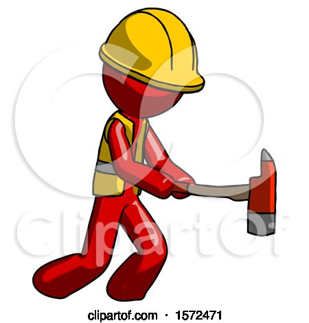 Red Construction Worker Contractor Man with Ax Hitting, Striking, or Chopping by Leo Blanchette