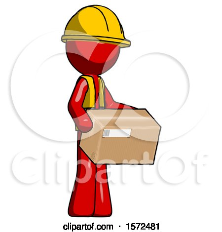 Red Construction Worker Contractor Man Holding Package to Send or Recieve in Mail by Leo Blanchette