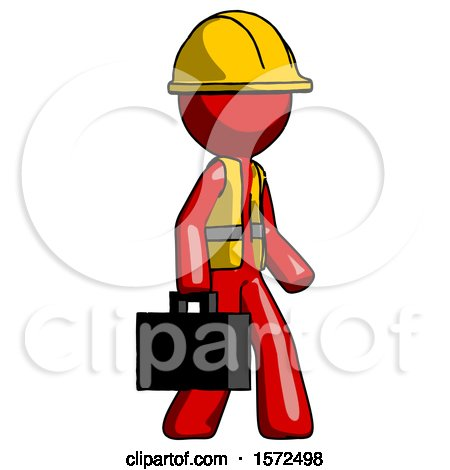 Red Construction Worker Contractor Man Walking with Briefcase to the Right by Leo Blanchette