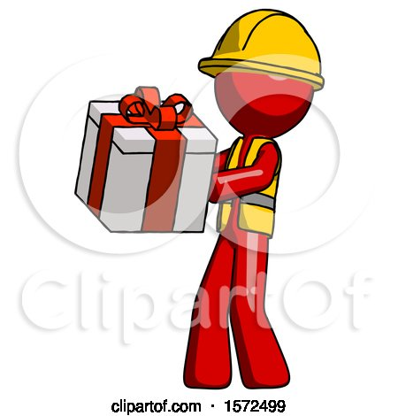 Red Construction Worker Contractor Man Presenting a Present with Large Red Bow on It by Leo Blanchette