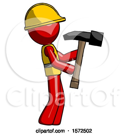 Red Construction Worker Contractor Man Hammering Something on the Right by Leo Blanchette