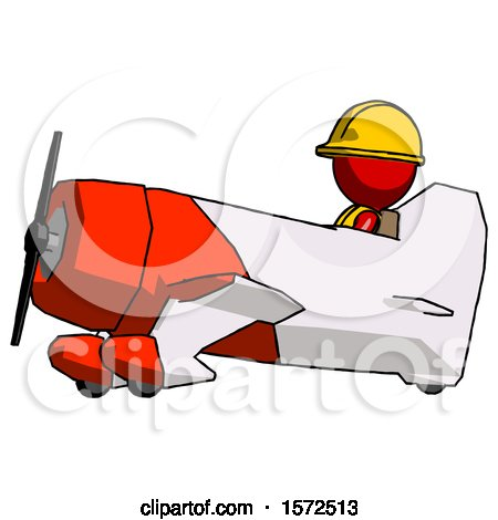Red Construction Worker Contractor Man in Geebee Stunt Aircraft Side View by Leo Blanchette
