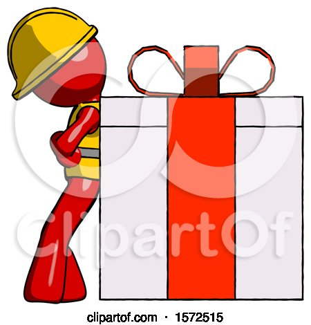 Red Construction Worker Contractor Man Gift Concept - Leaning Against Large Present by Leo Blanchette