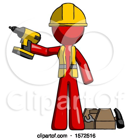 Red Construction Worker Contractor Man Holding Drill Ready to Work, Toolchest and Tools to Right by Leo Blanchette