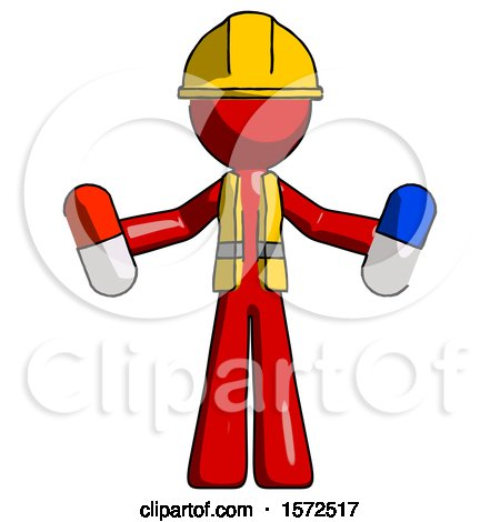 Red Construction Worker Contractor Man Holding a Red Pill and Blue Pill by Leo Blanchette