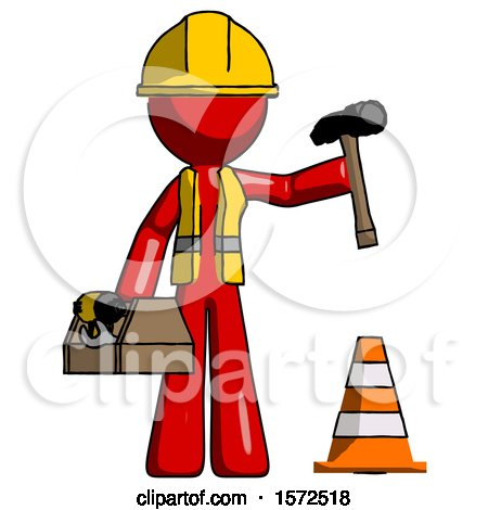Red Construction Worker Contractor Man Under Construction Concept, Traffic Cone and Tools by Leo Blanchette
