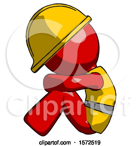 Red Construction Worker Contractor Man Sitting with Head down Facing Sideways Left by Leo Blanchette