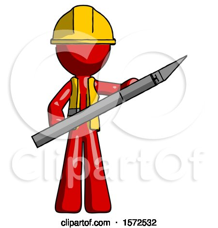 Red Construction Worker Contractor Man Holding Large Scalpel by Leo Blanchette