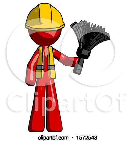 Red Construction Worker Contractor Man Holding Feather Duster Facing Forward by Leo Blanchette