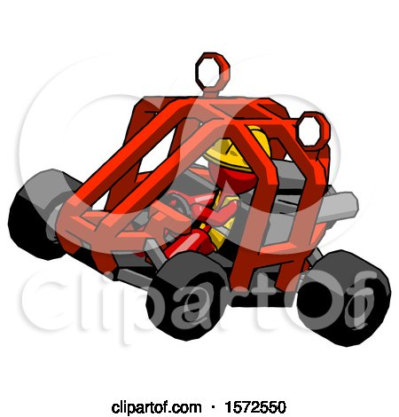 Red Construction Worker Contractor Man Riding Sports Buggy Side Top Angle View by Leo Blanchette