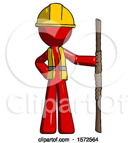 Red Construction Worker Contractor Man Holding Staff or Bo Staff by Leo Blanchette