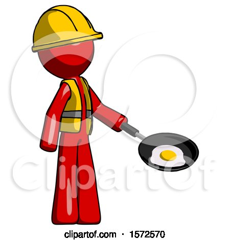 Red Construction Worker Contractor Man Frying Egg in Pan or Wok Facing Right by Leo Blanchette
