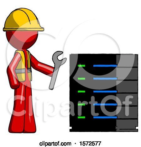 Red Construction Worker Contractor Man Server Administrator Doing Repairs by Leo Blanchette