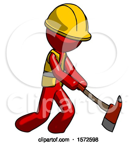 Red Construction Worker Contractor Man Striking with a Red Firefighter's Ax by Leo Blanchette