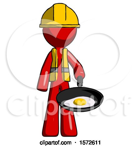 Red Construction Worker Contractor Man Frying Egg in Pan or Wok by Leo Blanchette