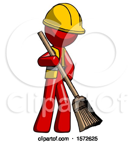 Red Construction Worker Contractor Man Sweeping Area with Broom by Leo Blanchette
