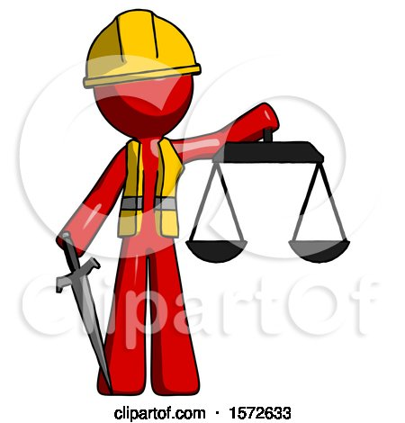 Red Construction Worker Contractor Man Justice Concept with Scales and Sword, Justicia Derived by Leo Blanchette