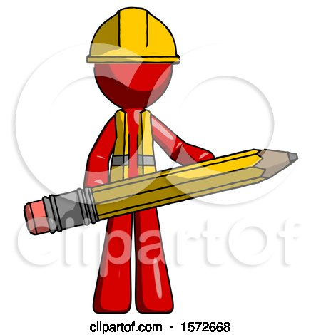 Red Construction Worker Contractor Man Writer or Blogger Holding Large Pencil by Leo Blanchette