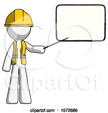 White Construction Worker Contractor Man Giving Presentation in Front of Dry-erase Board by Leo Blanchette