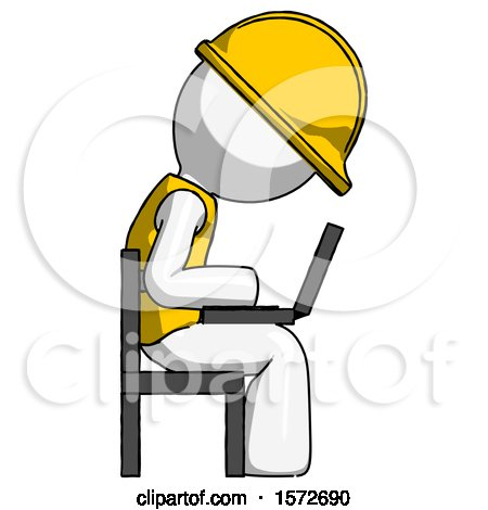 White Construction Worker Contractor Man Using Laptop Computer While Sitting in Chair View from Side by Leo Blanchette