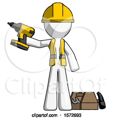White Construction Worker Contractor Man Holding Drill Ready to Work, Toolchest and Tools to Right by Leo Blanchette