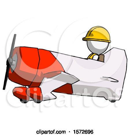 White Construction Worker Contractor Man in Geebee Stunt Aircraft Side View by Leo Blanchette