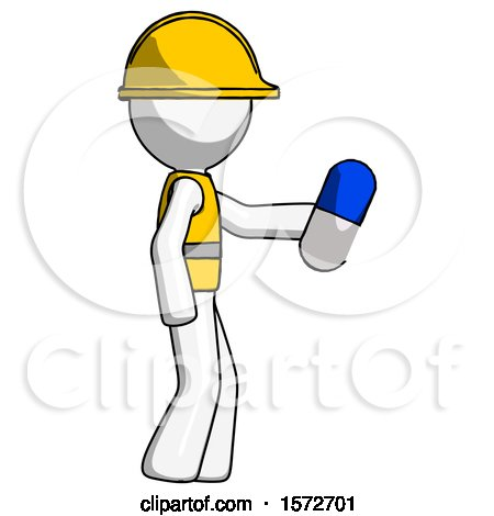 White Construction Worker Contractor Man Holding Blue Pill Walking to Right by Leo Blanchette