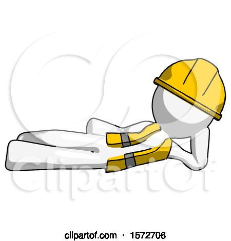 White Construction Worker Contractor Man Reclined on Side by Leo Blanchette