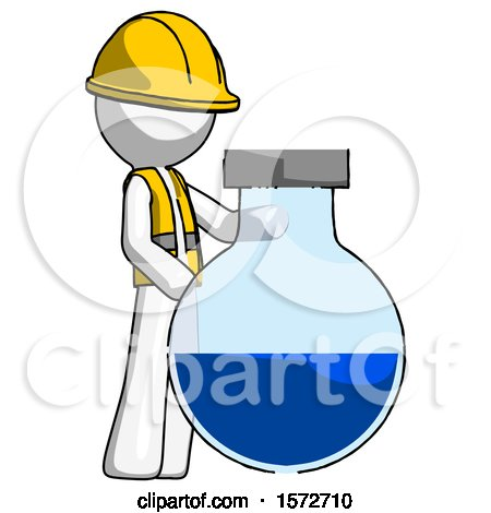 White Construction Worker Contractor Man Standing Beside Large Round Flask or Beaker by Leo Blanchette