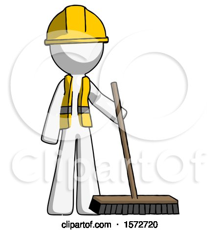White Construction Worker Contractor Man Standing with Industrial Broom by Leo Blanchette