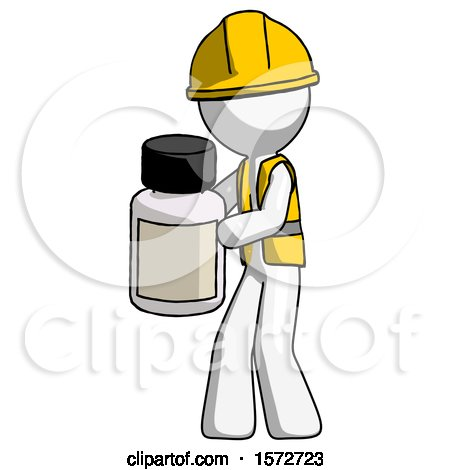 White Construction Worker Contractor Man Holding White Medicine Bottle by Leo Blanchette