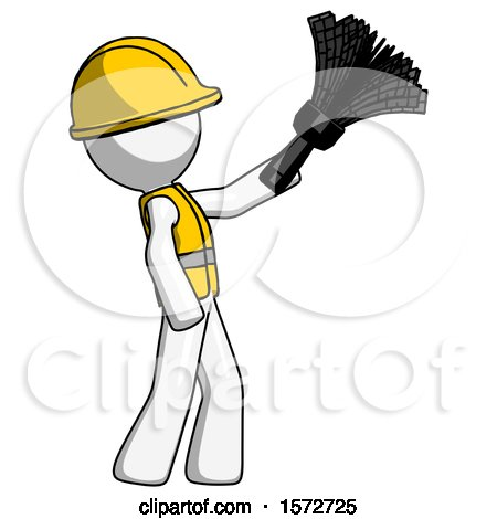 White Construction Worker Contractor Man Dusting with Feather Duster Upwards by Leo Blanchette