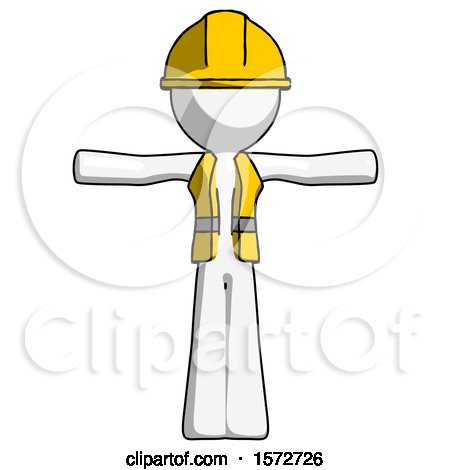 White Construction Worker Contractor Man T-Pose Arms up Standing by Leo Blanchette