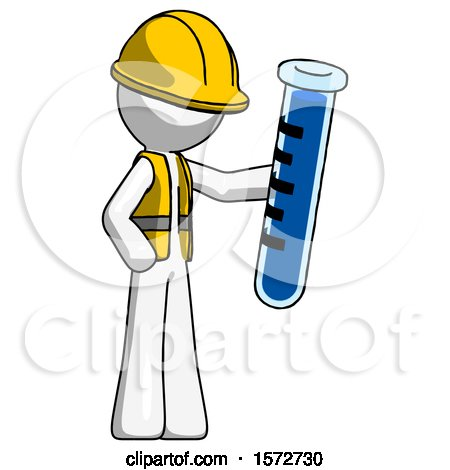 White Construction Worker Contractor Man Holding Large Test Tube by Leo Blanchette