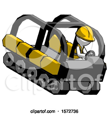 White Construction Worker Contractor Man Driving Amphibious Tracked Vehicle Top Angle View by Leo Blanchette