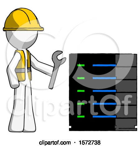 White Construction Worker Contractor Man Server Administrator Doing Repairs by Leo Blanchette