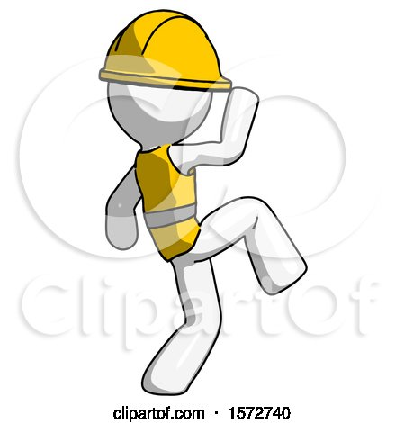 White Construction Worker Contractor Man Kick Pose Start by Leo Blanchette