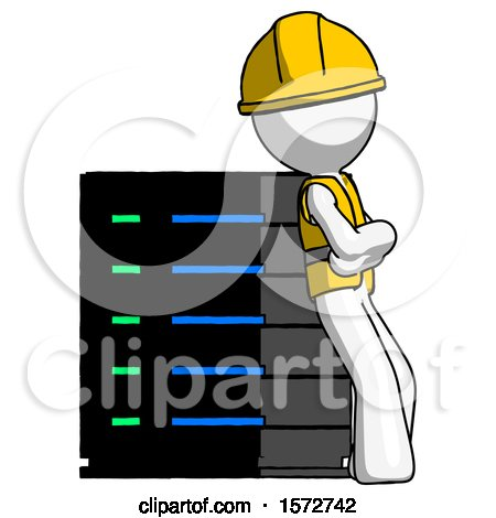 White Construction Worker Contractor Man Resting Against Server Rack Viewed at Angle by Leo Blanchette