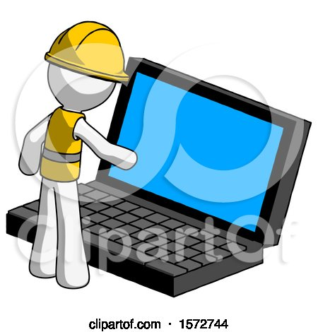 White Construction Worker Contractor Man Using Large Laptop Computer by Leo Blanchette