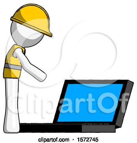 White Construction Worker Contractor Man Using Large Laptop Computer Side Orthographic View by Leo Blanchette