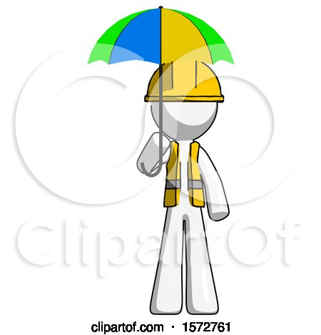 White Construction Worker Contractor Man Holding Umbrella Rainbow Colored by Leo Blanchette