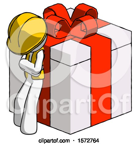 White Construction Worker Contractor Man Leaning on Gift with Red Bow Angle View by Leo Blanchette