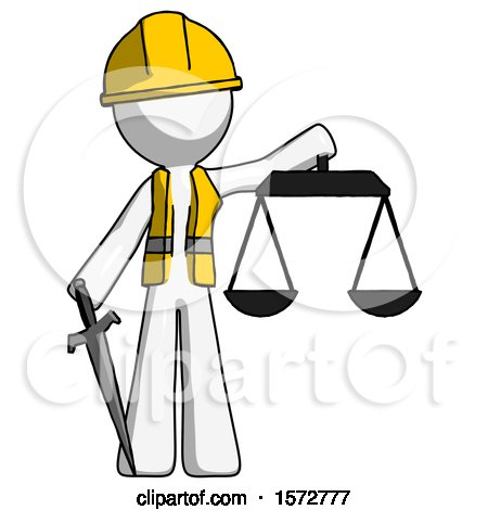 White Construction Worker Contractor Man Justice Concept with Scales and Sword, Justicia Derived by Leo Blanchette